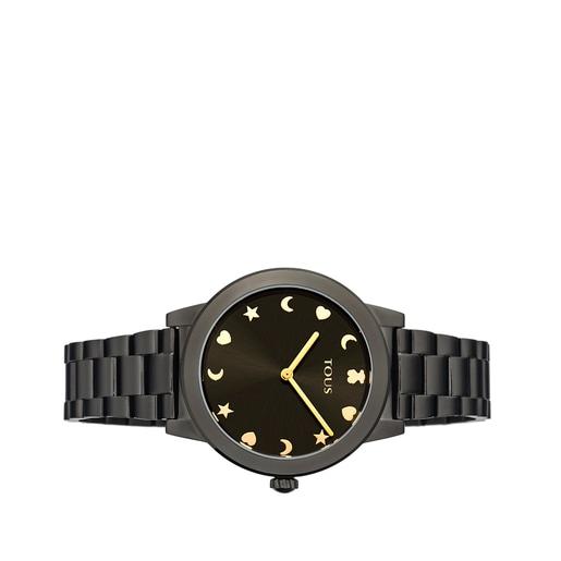Reloj Nocturne de acero IP negro con esfera negra