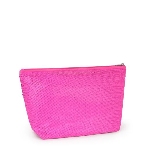 Medium Neon Pink Kaos Shock Sequins Handbag