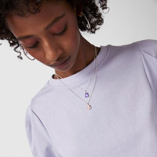 Collar Icon Color de plata y amatista
