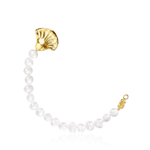Silver Vermeil Oceaan shell necklace with pearls