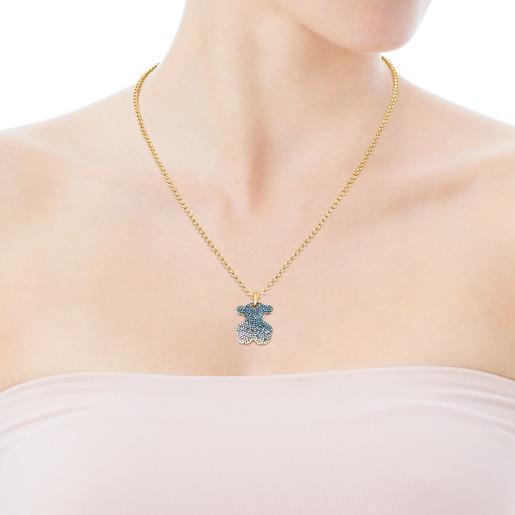 Dije Icon Gems de oro y diamantes azules