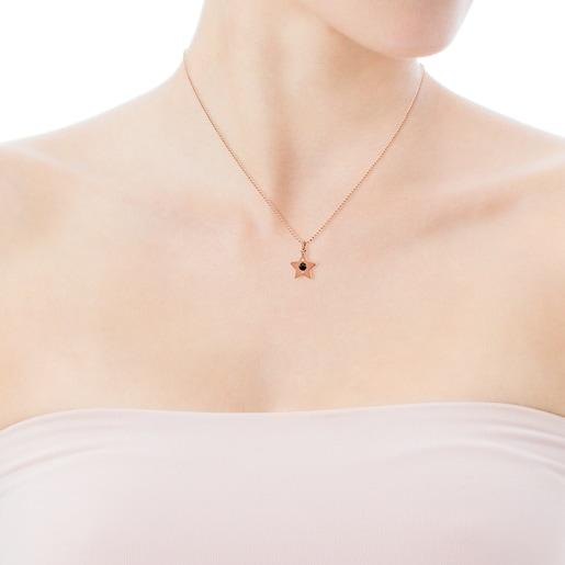 Colgante de plata vermeil rosa con espinela y perla Super Power