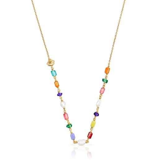 Κολιέ Oceaan από ασήμι vermeil με μαργαριτάρια και πολύχρωμο γυαλί