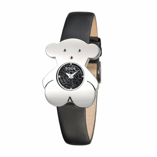Steel Tousy Watch with Diamonds and black Satin strap