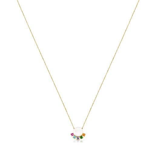 Collar de oro con perla y gemas Real Sisy