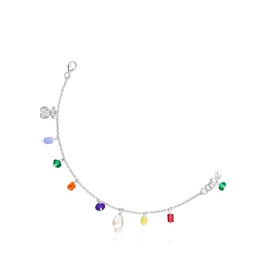 Silver Oceaan bear Bracelet with pearl and multicolored glass