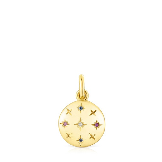 Small silver vermeil Magic Nature disc Pendant with gemstones
