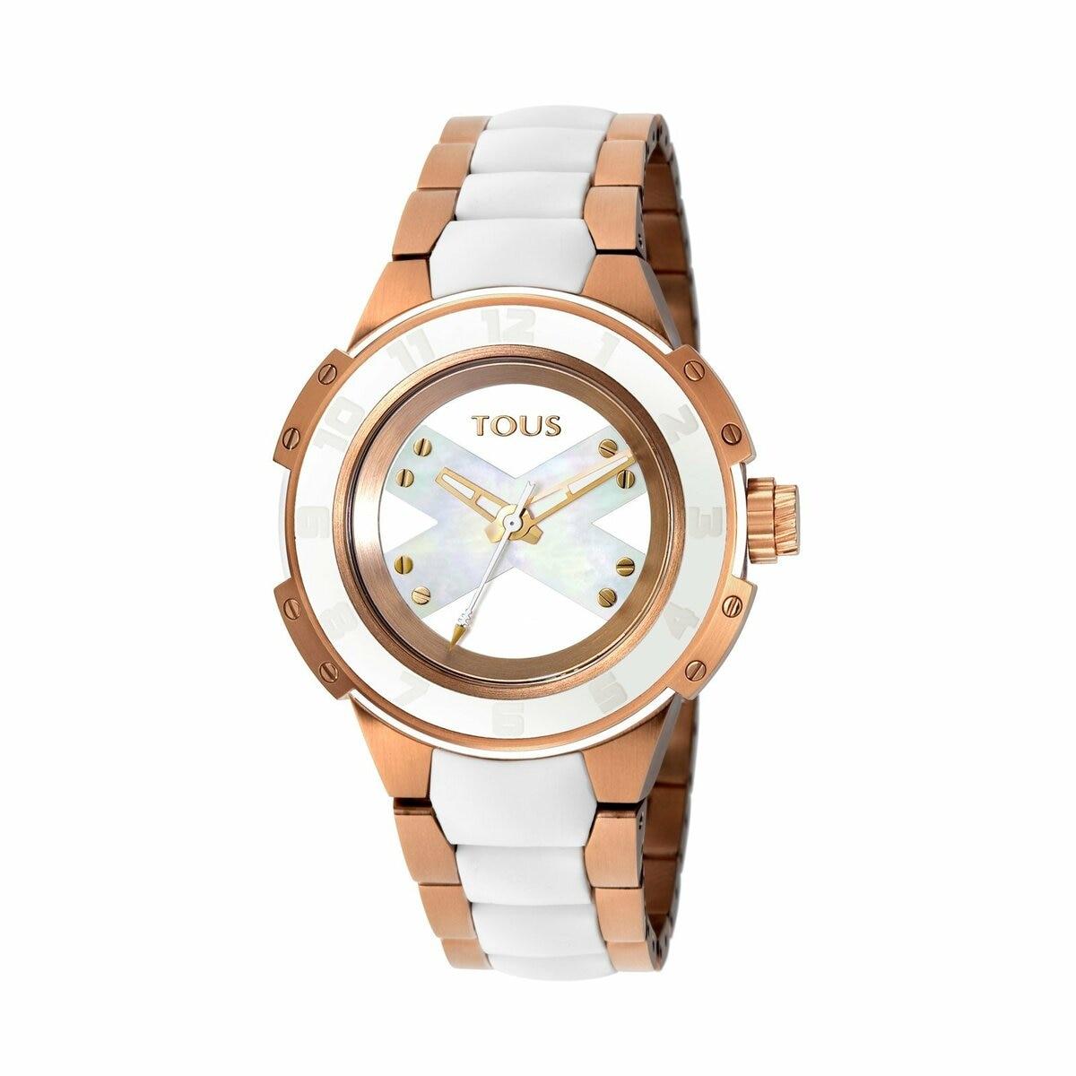 Reloj Xtous Lady bicolor de acero IP rosado/blanco con correa de silicona blanca