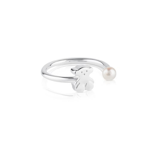 Silver TOUS Sweet Dolls Ring with pearl