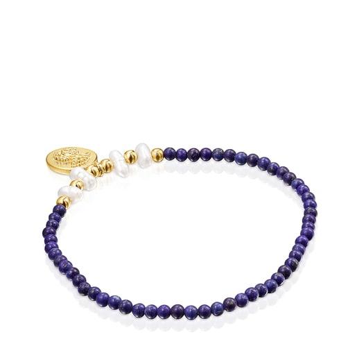 Pulsera camafeo de plata vermeil, lapislázuli y perlas Oceaan