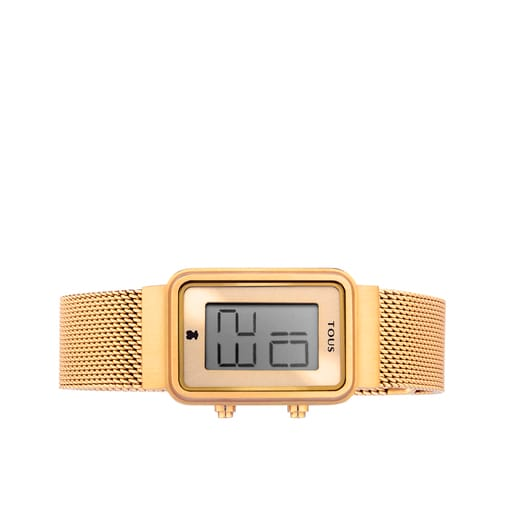 Gold-colored IP Steel Digisquared Mesh Watch