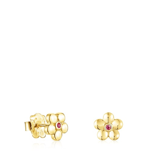 Gold Fragile Nature Earrings with Ruby