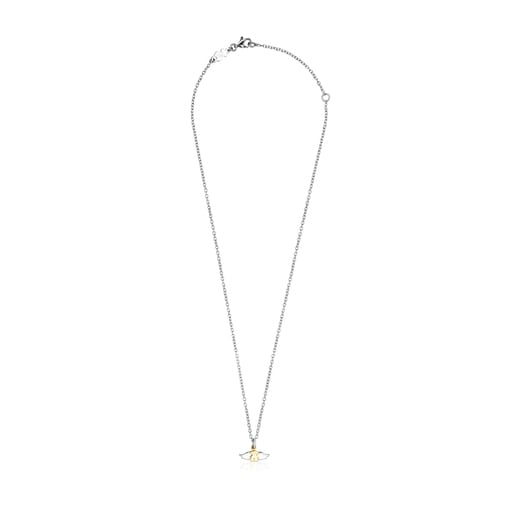 Gold colored IP Steel Fragile Nature bear Necklace