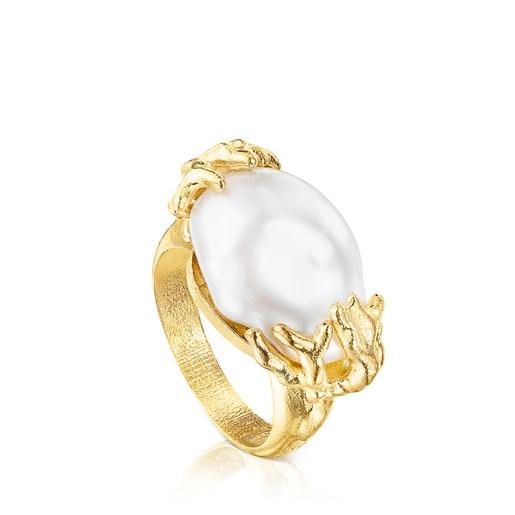 Silver vermeil Oceaan Color Ring with pearls