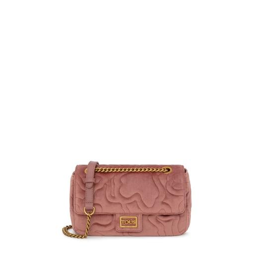 Bandolera mediana con solapa Kaos Dream Velvet rosa