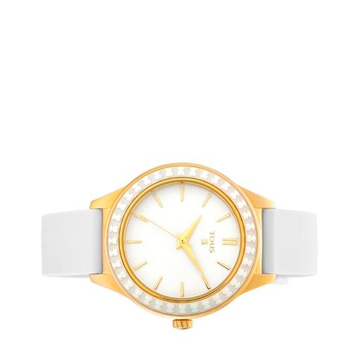 Reloj Straight Ceramic de acero IP dorado y bisel de cerámica con correa de silicona blanca