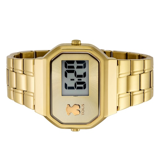 Gold IP Steel D-Bear Digital Watch