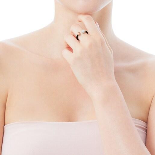 Anillo Icon Mesh de Acero y Plata Vermeil rosa con Perla