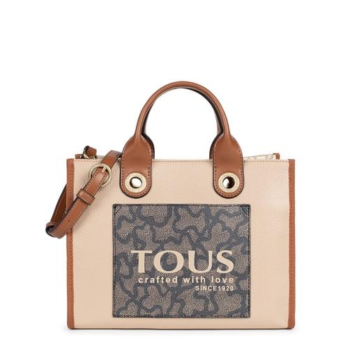 Medium brown and beige Amaya Kaos Icon shopping bag