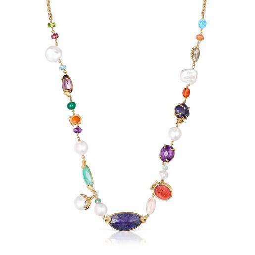 Μακρύ Κολιέ Oceaan Color από ασήμι vermeil με πολύτιμους λίθους