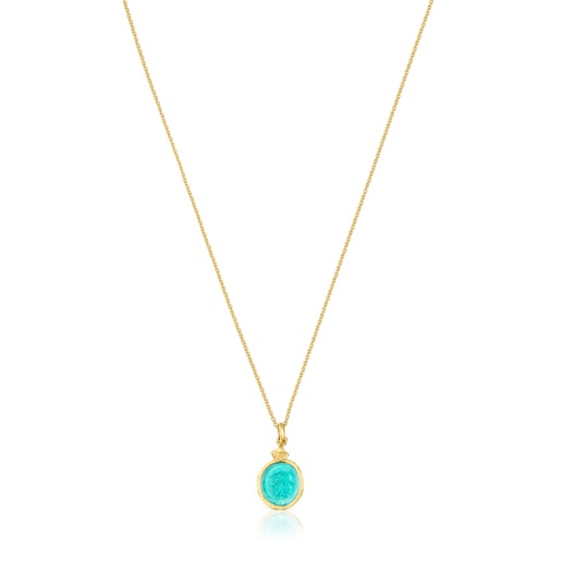 Collar camafeo de plata vermeil y glass verde Oceaan Color