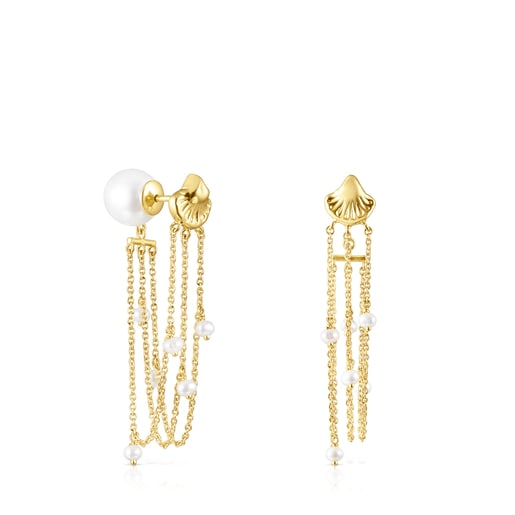 Long gold Oceaan shells-chains Earrings with pearls