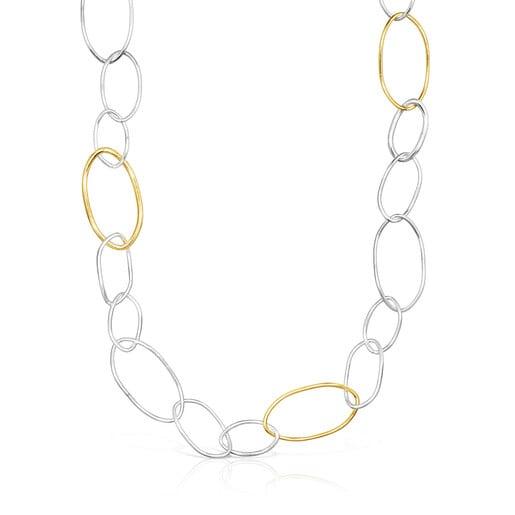 Zweifarbige Halskette Hav mit ovalen Ringen
