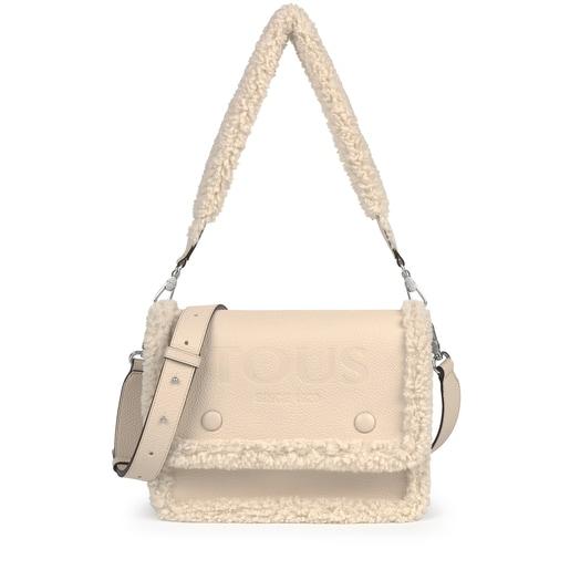 Medium New Audree Crossbody bag with beige-colored sheepskin