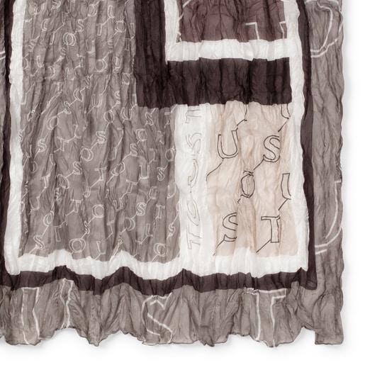 Mocador prisat Script de seda marró