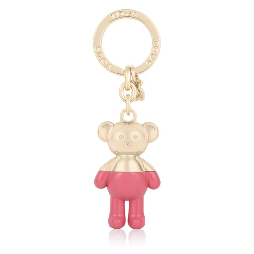 Gold- and pink-colored Teddy Bear Key ring