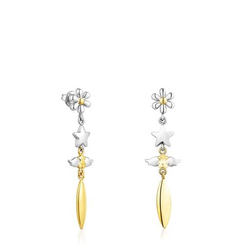 Lange Ohrringe Fragile Nature aus goldfarbenem IP-Stahl