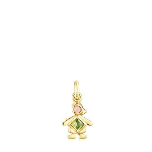Silver Vermeil TOUS Mama boy cap Pendant with Gemstones