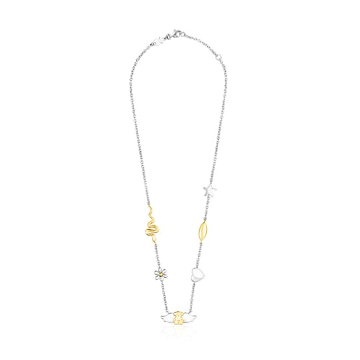 Gold colored IP Steel Fragile Nature charms-bear Necklace