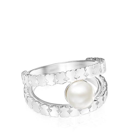 Anillo Straight tiras de plata y perla