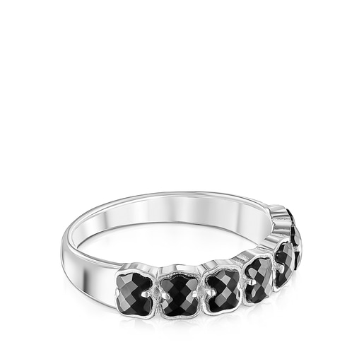 TOUS Mini Onix Ring in Silver with Onyx 0,4cm.