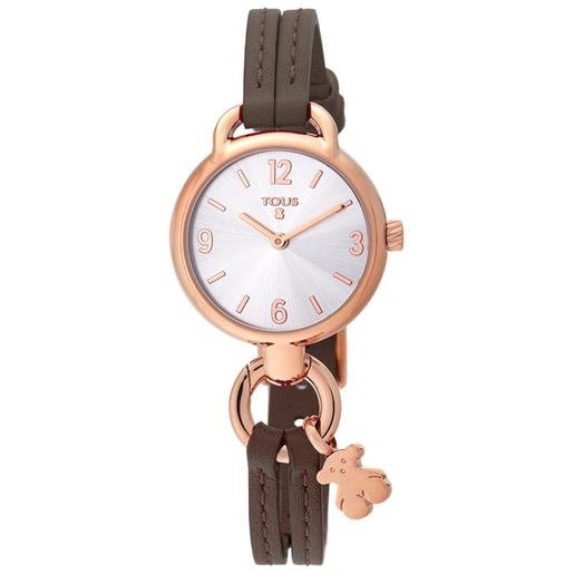 Reloj Hold de acero IP rosado con correa de piel marrón