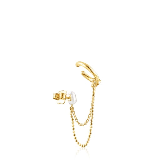 Σκουλαρίκι-χειροπέδα Oceaan Duna από ασήμι vermeil με μαργαριτάρι