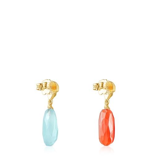 Σκουλαρίκια Oceaan Color από ασήμι vermeil με καρνεόλιο και χαλκηδόνιο