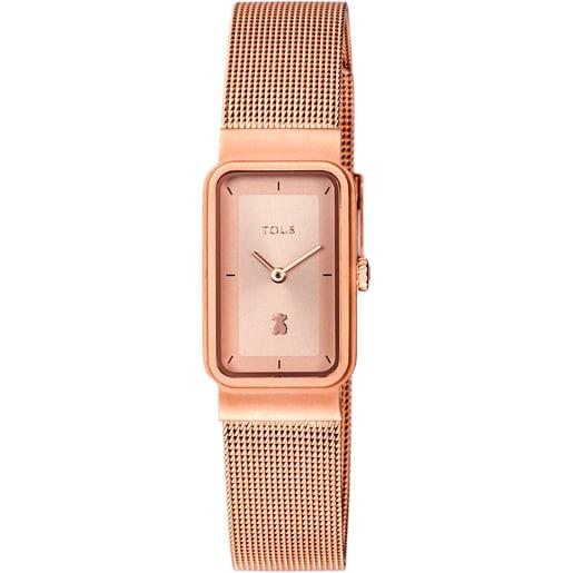Ρολόι Squared Mesh από Ατσάλι με επιμετάλλωση σε ροζ χρώμα