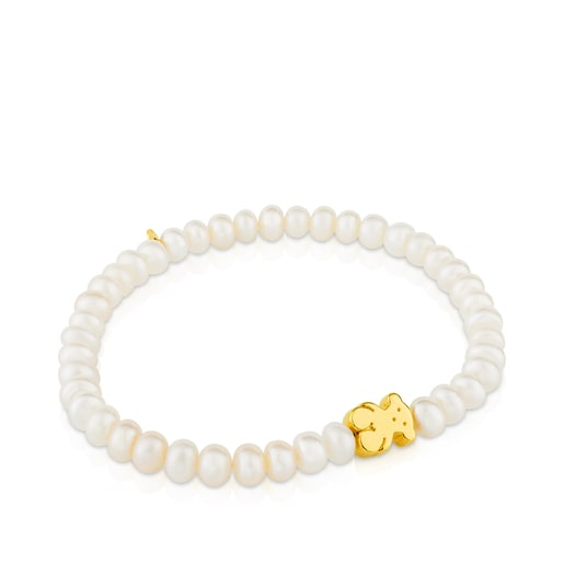 Gold Sweet Dolls Bracelet with pearls and Bear motif