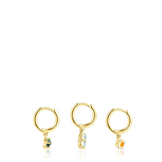 Set of Silver Vermeil TOUS Good Vibes Earrings with Gemstones