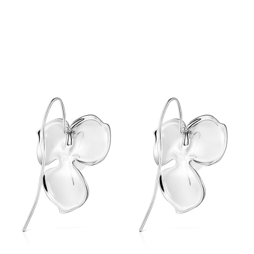 Large Silver Fragile Nature flower Earrings with Pearl