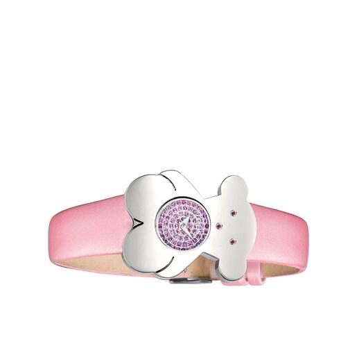 Uhr Tousy aus Stahl mit rosa Saphir und rosa Satinarmband