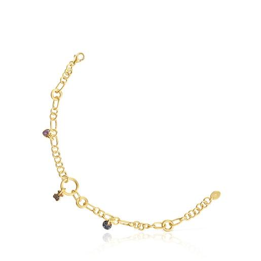Bracelet Luah en argent vermeil, saphirs et quartz
