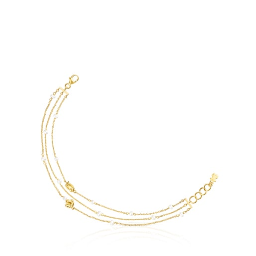 Gold Oceaan shells-chains Bracelet with pearls