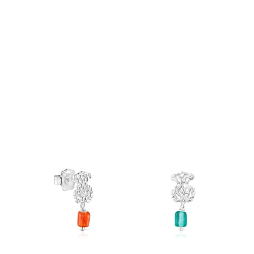 Silver Oceaan bear Earrings with orange and blue glass