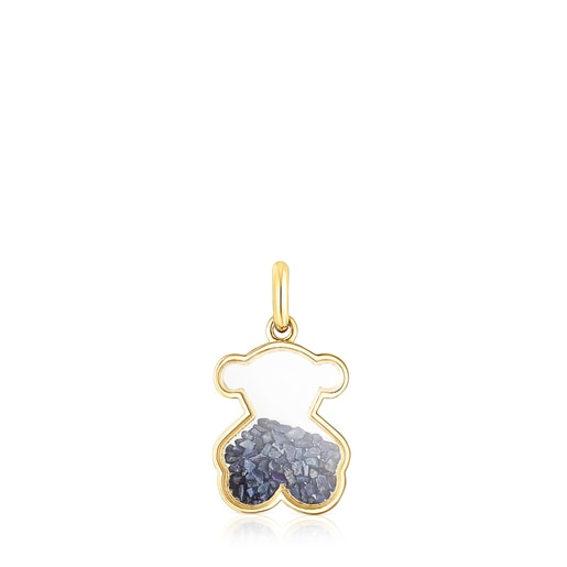 Gold Areia Pendant with blue sapphire