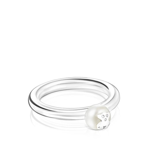 Silver and Pearl TOUS Icon Pearl Ring with Bear motif