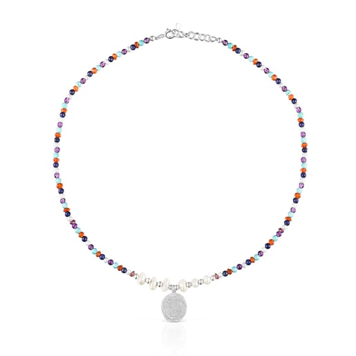 Silver Oceaan Color Necklace with pearls and gemstones