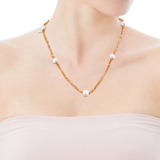 Collar de cornalinas y perlas Sea Vibes